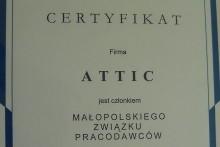 certyfikat małopolski związek pracodawców attic centrum budowlane