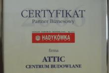 certyfikat hadykówka partner biznesowy zakład ceramiki budowlanej attic