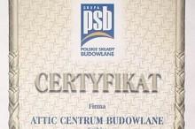 certyfikat polskie składy budowlane centrum budowlane attic