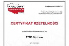 certyfikat rzetelności Krajowy Rejestr Długów attic składy budowlane