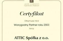 certyfikat wiarygodny partner 2003 centrum budowlane attic