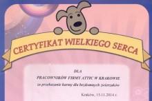 certyfikat wielkiego serca schronisko dla bezdomnych zwierząt attic składy budowlane