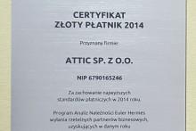 certyfikat złoty płatnik składy budowlane attic