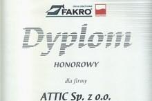 dyplom honorowy fakro składy budowlane attic