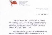 podziękowanie pomoc finansowa KS Cracovia attic składy budowlane