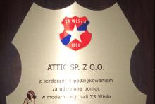 podziękowanie pomoc modernizacja hali TS Wisła centrum budowlane attic