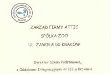podziękowanie pomoc szkoła podstawowa nr 162 Kraków centrum budowlane attic