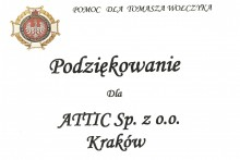 podziękowanie wsparcie koncert charytatywny Tomasz Wołczyk attic składy budowlane