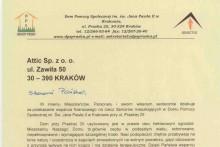 podziękowanie dom pomocy społecznej w Krakowie centrum budowlane attic