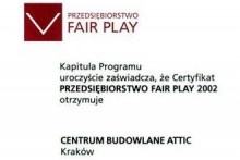 certyfikat przedsiębiorstwo fair play attic składy budowlane