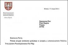 gratulacje przedsiębiorstwo fair play marszałek województwa małopolskiego attic